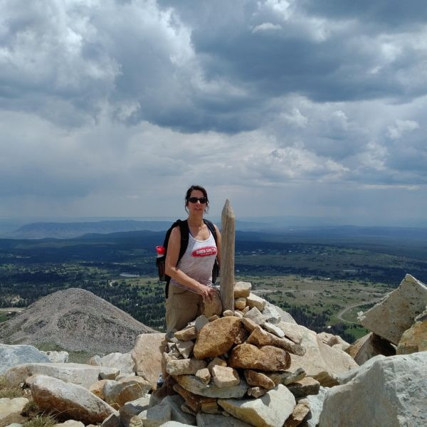 Patty Durell at the top of Medicine Bow Peak Wyoming