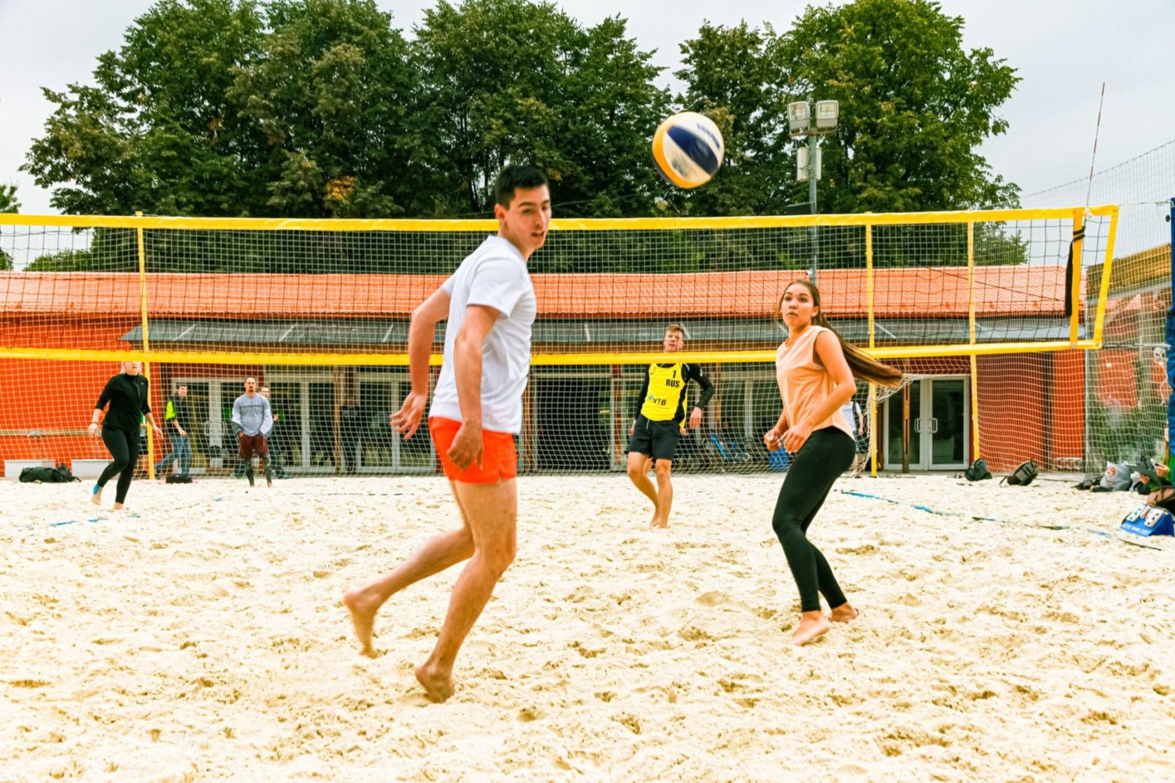 Don't sit out family volleyball build muscular strength